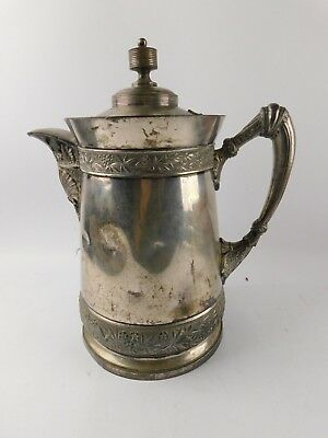 Antique Meriden Silverplate Large Patent Date 1868 Porcelain Lined Water Pitcher