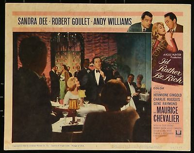 "Andy Williams Sandra Dee I'D RATHER BE RICH 1964 MOVIE LOBBY CARD 11"" x 14"""