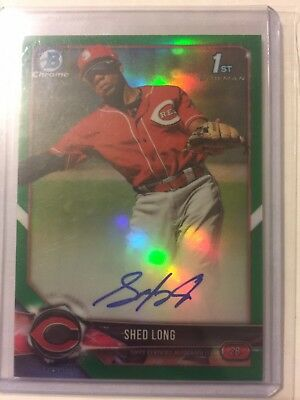 2018 Bowman Chrome Shed Long Auto Green Refractor #84/99 SP Yankees RC
