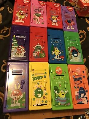 M&m's Lot Of 12 Lockers 3 Complete Sets 4 Christmas , 4 Valentines, And 4 Easter