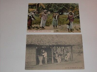 Two Postcards 1910 Canal Zone Stamp Panama Indian Women,natives