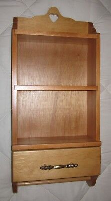 WOODEN WALL CURIO CABINET SHADOW BOX DISPLAY CASE w/Drawer