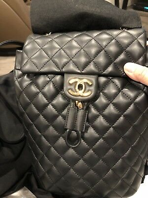 f4c86225a39c2c Brand New Authentic Chanel Black Quilted Calfskin Backpack 18k Gold Medium  Size