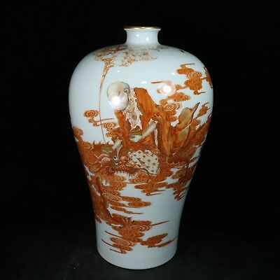 Chinese Exquisite Handmade Dragon Luohan pattern porcelain painting gold vase