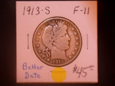 1913-S 50C Barber Half Dollar, 10% OFF SALE