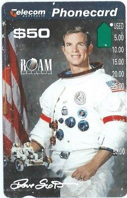 $50 APOLLO 15, RARE DAVID SCOTT PORTRAIT; 2nd QUALITY 1 HOLE TELSTRA PHONECARD