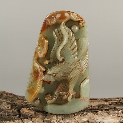 Chinese Exquisite Hand-carved eagle fish Carving jadeite jade Pendant