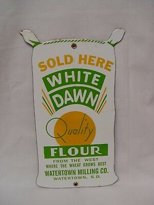 White Dawn Flour Watertown Milling Co. Sack Shaped Porcelain Advertising Sign