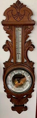 Wonderful Antique English Oak Barometer Thermometer