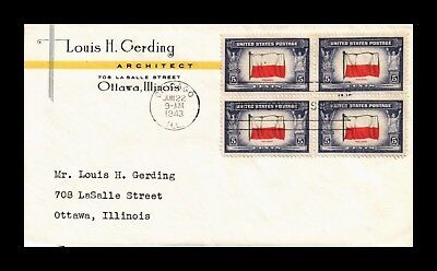 Dr Jim Stamps Us Cover Poland Overrun Countries Block Of 4 Fdc Scott 909
