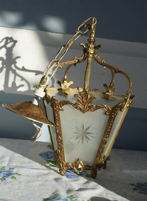 Vintage Antique Brass French Colonial Glass Panel Lantern Pendant Light Ornate
