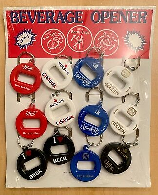 1990's Beverage Bottle Openers Key Chain 3 In 1 Store Counter Display New