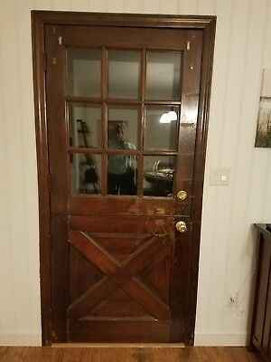 VTG 1950's Solid Wood Dutch Door 9 Panel Glass Original Hardware Exterior Entry