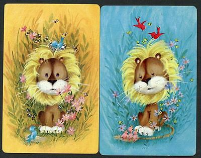 Vintage Lion Theme Swap Cards In Excellent Condition