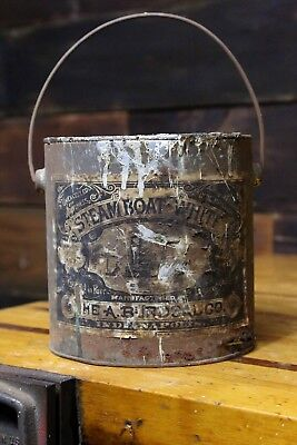 Vintage Steam Boat White Paint Can Indianapolis, IN Antique bucket early old