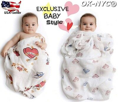 """Set of 2 PREMIUM 100% CERTIFIED ORGANIC Cotton Muslin Swaddle Baby Blankets 47"""""""