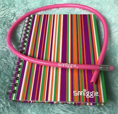 Smiggle Address Book / Diary With Pink Flexible Bendy Pencil