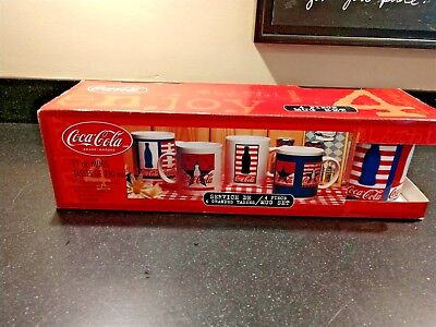 Vintage Coca-Cola Mugs Set of Four (4) - New in Box 11oz