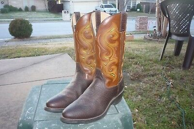 Men's 9 D M Double-H Brown Textured Leather Western Cowboy Work Boots DH 4417