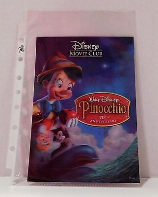 PINOCCHIO Disney Movie Club 3D Lenticular Card RARE Collector