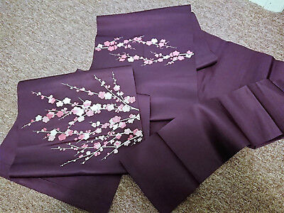 Purple with plum pattern Nagoya obi (Unfinished) Japanese Vintage Kimono