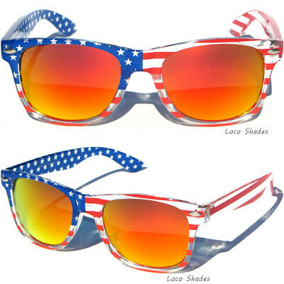 35e6dc945832 USA SUNGLASSES American Flag Patriotic Red Fire Mirror Lens Retro Sunnies  New
