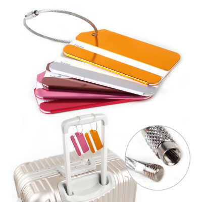 5pcs Aluminium Metal Travel Luggage Baggage Suitcase Address Tag Label Holder