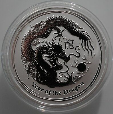 2012 Australian Lunar 2 TWO Oz Coin, Year of the Dragon .999 Silver. Perth Mint