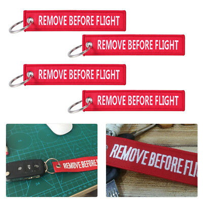 5Pcs Remove Before Flight Key Chain Embroidered Luggage Tag Key Ring Aviation