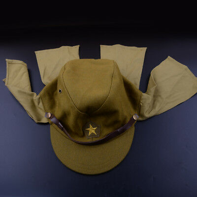 Green Wool Japanese Army Soldier Hat Cap World War II Military Costume Accessory