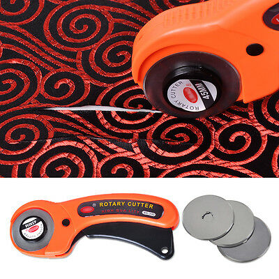 45mm Rotary Cutter Quilters Sewing Quilting Fabric Cut+10pcs Cutting Blades New