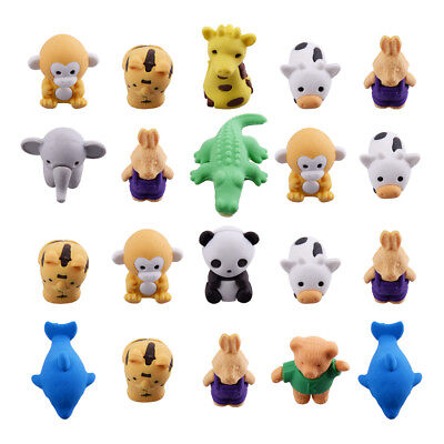 20Pcs Cute Animal Rubber Pencil Eraser Set Stationery Children Party Xmas Gift