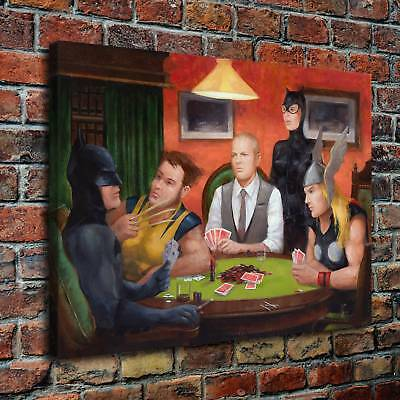 Heroes Playing Poker Poster HD Canvas print Painting Home Decor Room Wall art 98