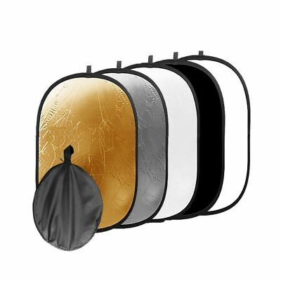 5 in1 Light Reflector Photo Studio Collapsible Oval Photography Portable 60x90cm