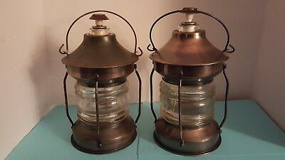 -Musical Lantern Decanter Glass & Copper TUNE -How Dry I Am-Remember-Nice Pair-