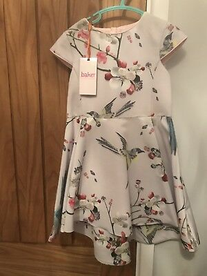 20abd42b7 BNWT Ted Baker Girls Light Pink Beautiful Birds Floral Print Dress Age 4-5  Years