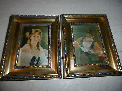 Vintage French print on silk in gold wooden frame x 2 good condition