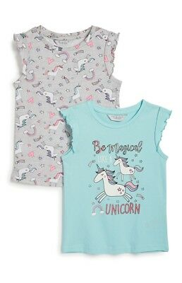 Primark Girls Unicorn Pk2 T-Shirts Bnwt All Ages Summer Top Holiday