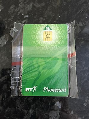 Green 50P Mint Complementory Bt Phonecard Large Chip No Notch Exp.march 1999