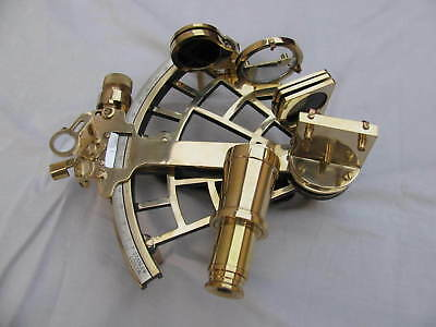 "9"" Vintage Shiny Brass Sextant Astrolabe Maritime Replica style Navigation Item."