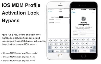 APPLE MDM BYPASS IPHONE / IPAD / IPOD 100% all iOS Versions 12.1.x- Fast service