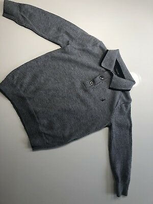 M&S Autograph Grey Jumper 12-18 Months Baby Boy Long Sleeve Polo
