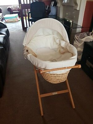 Mamas & Papas Moses Basket Baby Cot + Wooden Stand