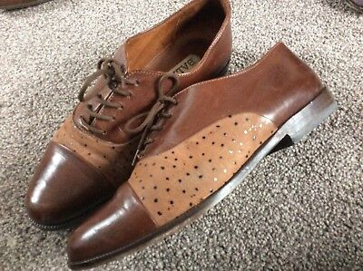 40s Style Leather Shoes Bally Eu 36.5 , Uk 3.5 To 4 Lace Up Flat