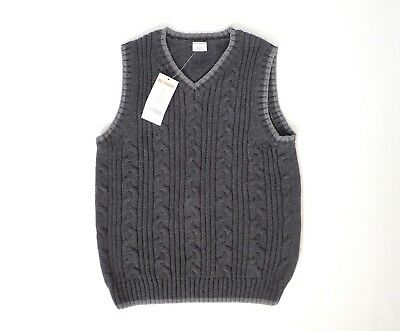NEW! Boys GYMBOREE Chunky Cable Knit Sweater Vest Cotton Anthracite Gray 7