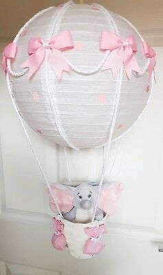 Hot air balloon light shade + Disney dumbo pink girl looks stunning nursery x