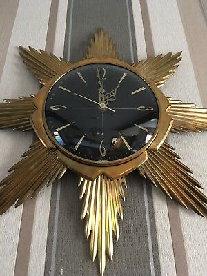 FAB Rare Black Faced METAMEC Sunburst Brass Wall Clock In VGC Working 60/70s