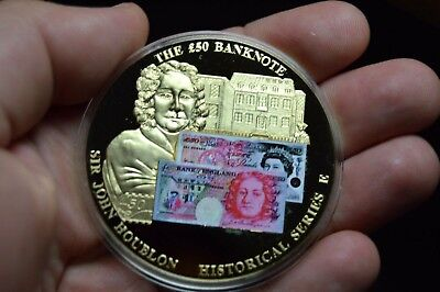50 Pound Serie A Large Gold Plated British Money Banknote Coin Medal Collection