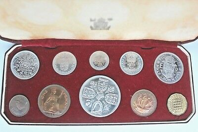 1953 10 Coin Royal Mint Proof Year Set In Original Red Box