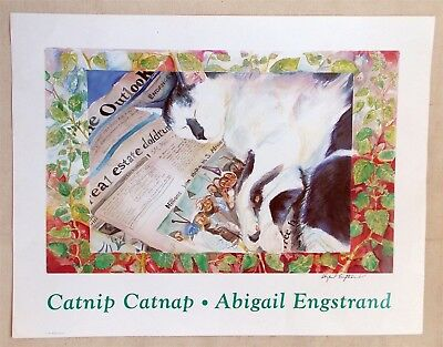 """CATNIP CATNAP B&W Cat Poster 26x20"""" Original Poster - Hand-Signed by the Artist"""